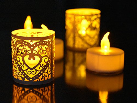 RUBY.Q 24pcs Flameless LED Tea Light Candles and 24pcs White Votive Wrap Papers - llightsdaddy - RUBY.Q - Flameless Candles