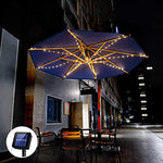 Etercycle Outdoor Solar Patio Umbrella String Lights Solar Powered Bright 8 Modes 104LED Lights Included 3AA 800mAh Battery,for Beach Deck Umbrella Garden Party Christmas Outdoor Decoration - llightsdaddy - Etercycle - Umbrella Lights