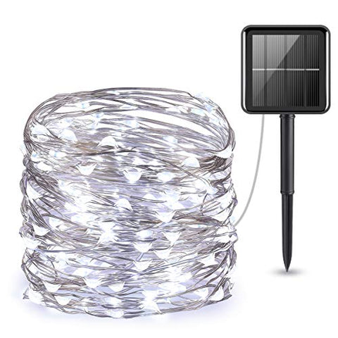 AMIR (Upgraded Version) Solar Powered String Lights, 100 LED Copper Wire Lights, Starry String Lights, Indoor Outdoor Waterproof Solar Decoration Lights for Gardens, Home, Dancing, Party (White)