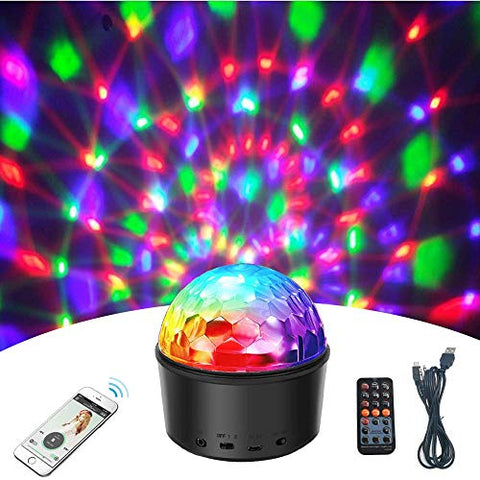Wonsung 3-in-1 Disco Party Light+Kids Night Lights+Music Speaker,9W 9 Color LED Bluetooth Stage Lights Crystal Magic Ball DJ Dance Holiday Light for Home Dance DJ Disco Xmas Party Show
