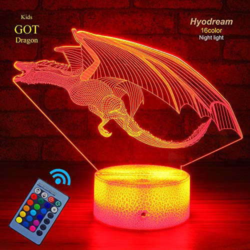 Rechargeable 3D Print Dragon Shape Night Light LED Lamps Room Decor Kids Gifts