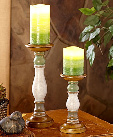 The Lakeside Collection 4-Pc. LED Candle & Holder Set- Green - llightsdaddy - LTD Commodities - Flameless Candles