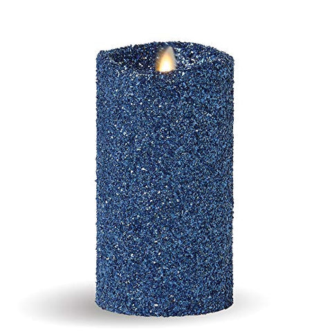 "Luminara Vintage Glitter 7"" Flameless Pillar Candle w/Remote Blue - llightsdaddy - Luminara - Flameless Candles"