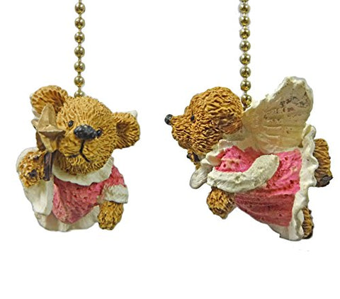 Set of 2 Angel Teddy Bear Ceiling Fan Pulls