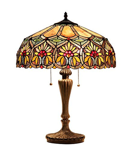 "Chloe Lighting CH33453BF18-TL2 Sunny Tiffany-Style Floral 2-Light Table Lamp, 24.6 x 17.7 x 17.7"", Multicolor"