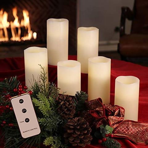 Set of 3x6 Ivory Wax Remote Controlled Battery Operated Flickering Candles with Remote and Batteries (Ivory, 6pk) - llightsdaddy - Enchanted Spaces - Flameless Candles
