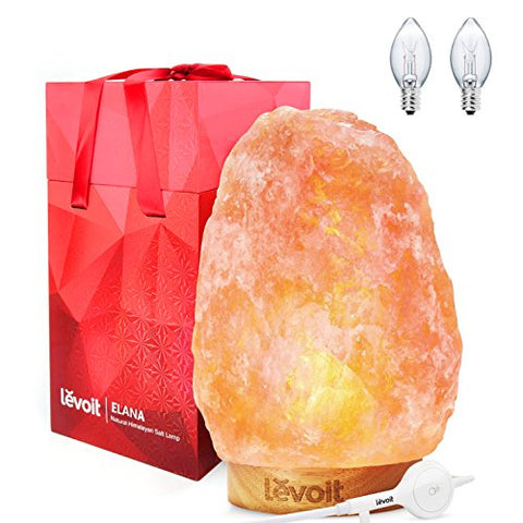 Levoit Salt Lamp, Himalayan / Hymilain Sea Salt Lamps, Pink Crystal Large Salt Rock Lamp, Night Light, Real Rubber Wood Base, Dimmable Touch Switch, Luxury Gift Box(Ul-Listed, 2 Extra Original Bulbs) - llightsdaddy - Levoit - Lights