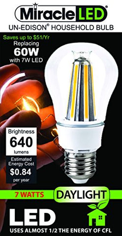 Miracle LED Décor Gorgeous, XTRA Bright 360° Radiance, 7W LED Replace 60W Bulb, A19, Daylight White Light (605051) Un-Edison