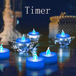 Flameless LED Tealight,Realistic Blue Flickering LED Candle with Timer,Battery Operated Flickering LED Candle for Halloween,Wedding,Christmas,Table Dinning,Home Decor - llightsdaddy - FASTIC - Flameless Candles