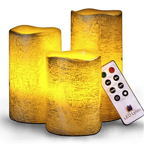 Battery Operated Flameless Candles Set of 3 Round Rustic Gold Coated Ivory Wax with Amber Yellow Flame Flickering LED Candles, auto-Off Timer Remote Control by LED Lytes - llightsdaddy - LED Lytes - Flameless Candles