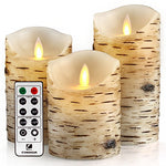 "comenzar Flickering Candles, Candles Birch Set of 4 5"" 6"" Birch Bark Battery Candles Real Wax Pillar with Remote Timer - llightsdaddy - comenzar - Flameless Candles"