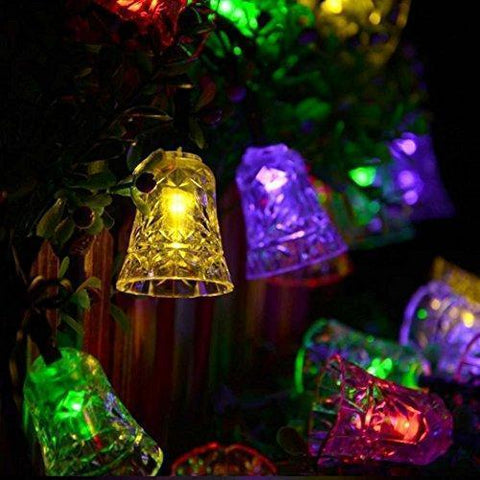 Hann Solar String Lights, 5M/16FT 20 LEDs Campanula Solar Powered Fairy Lights for Xmas Ornaments Party Decor Garden Yard Fence Path Landscape Christmas Decoration (Multicolor)