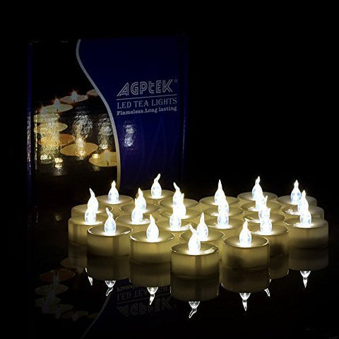 AGPTEK 60 PCS Flameless Tea Lights, Battery Operated No Flicker Steady LED Candles for Wedding Party Festival Decoration Occasions - Warm White - llightsdaddy - Mambate - Flameless Candles