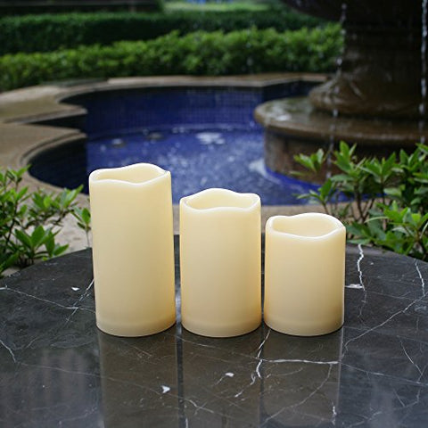 "Outdoor Flameless LED Candles with Timer - Waterproof Realistic Flickering Battery Operated Powered Electric Electronic Plastic Resin Pillar Candles by Qidea 3-Pack 3""x4""/5""/6"" - llightsdaddy - Qidea - Flameless Candles"