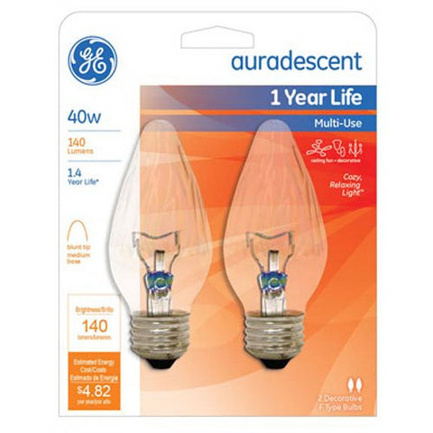 G E LIGHTING 75343 Flame Shape Auradescent Bulb, 40W, 2-Pack