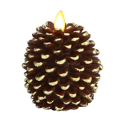 "Ksperway Pinecone Unscented Wax Battery Operated Flameless Candle with Moving Wick and Timer 3.4"" x 4.1"" (Brown) - llightsdaddy - Ksperway - Flameless Candles"