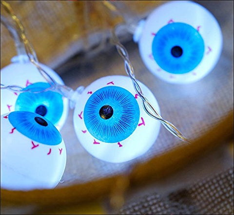 LJM Latest Style 20 Lights Battery Operated Halloween Scary Eyeball for Outdoor Indoor Patio Room Bar Costume Ball Decorations