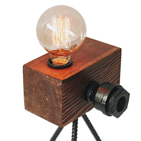 Real Wood Table Lamp Industrial Vintage Edison Bulb - Creative Camera Shape Unique Style - Free Bulb Included - Home Decor Furniture - 02