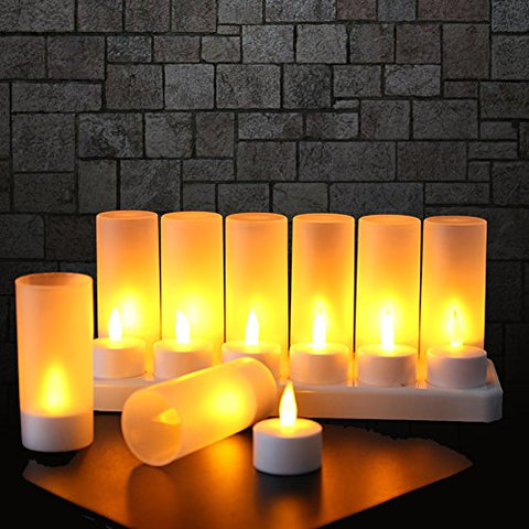 Flameless Candles with Rechargeable Base Led Candles Flickering LED Tea Lights Unscented Tealight Warm White Plastic Realistic Candle Party Decoration Upgraded Tea Candle Set of 12 NO NEED BATTERY - llightsdaddy - Expower - Flameless Candles