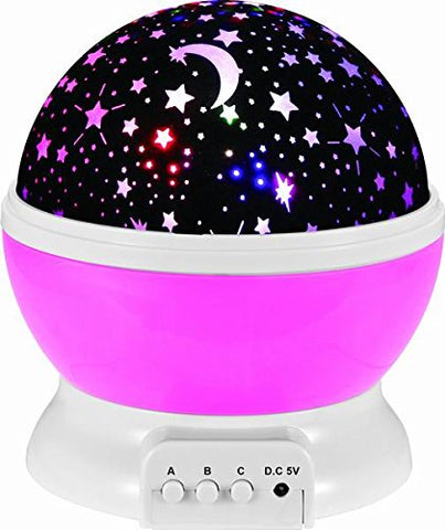 COTTONTAIL Cosmos Star Night Light, Rotating Nighttime Projector Lamp for Nursery, Kids and Toddlers (Pink)