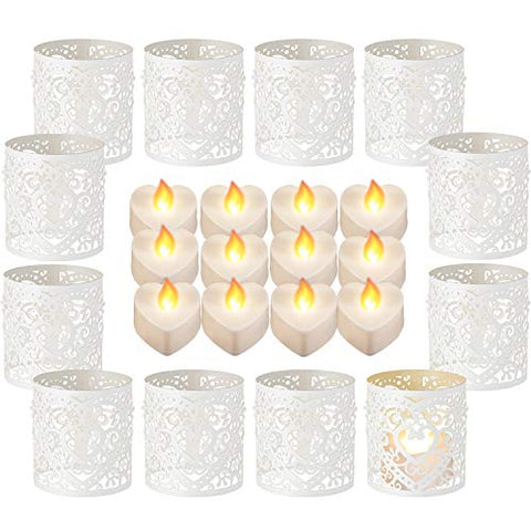 Sumind 12 Pieces LED Tealight Candles Heart Electric Fake Candle and 12 Pieces Paper Candle Holder Wraps for Valentine's Day Birthday Wedding Halloween Decoration - llightsdaddy - Sumind - Flameless Candles