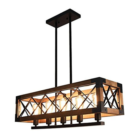 OYI 001 Farmhouse Hanging Fixture Retro Ceiling Light, Brown - llightsdaddy - OYI Lighting - Island Lights