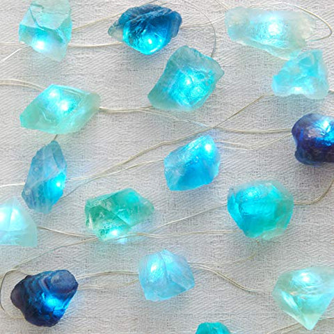 Miya Life Plus Natural Fluorite Sea Glass Raw Stones Led String Lights 6.5Ft 20 Lights With Remote For Indoor Outdoor Tent Wedding Anniversary Birthday Decor Present Bedroom Christmas Party