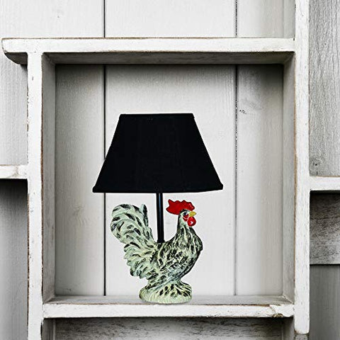 AHS Lighting L1100-UP1 Tucker Rooster Chicken Farm Decorative Accent Table Lamp Polyresin Perfect for bookshelf, kitchens, desks, cabin cottage style homes Black - llightsdaddy - AHS Lighting - Table Lamp