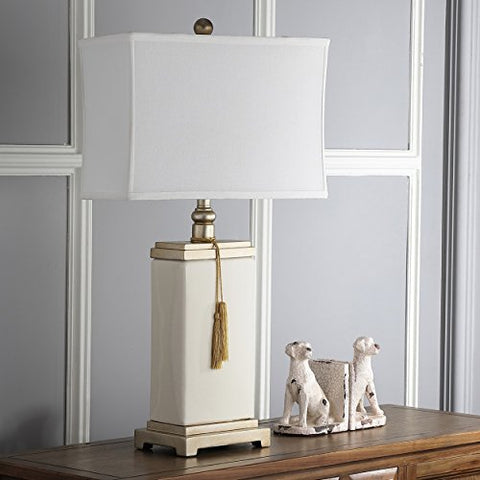 Safavieh Lighting Collection Amiliana Cream Tassel 29.5-inch Table Lamp - llightsdaddy - Safavieh - Table Lamp