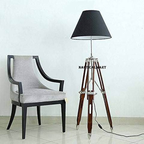 DESIGNER BLACK SHADE BROWN WOODEN TRIPOD FLOOR LAMP FOR LIVING ROOM BY NAUTICALMART - llightsdaddy - NAUTICALMART - Lamp Shades