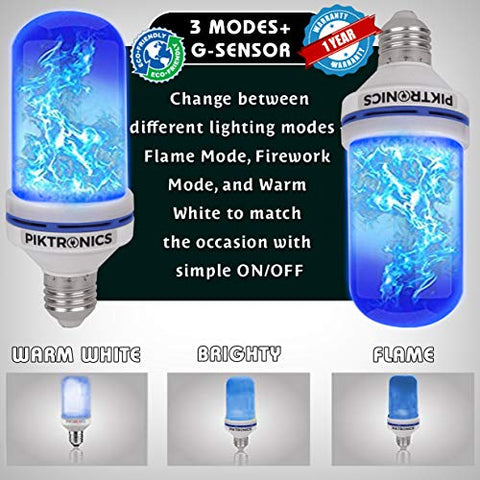 Piktronics Led Flame Effect Light Bulbs, Decorative Atmosphere E26 Flicker 3 Modes With Gravity Sensor | Christmas Decoration Indoor Outdoor Power Saving Upto 90% | 1 Year Warranty (Blue), Pack Of 2