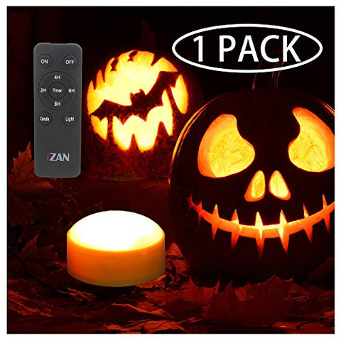 1 Pack Battery Operated LED Halloween Pumpkin Light with Remote and Timer, Bright Flickering Flameless Candle Set for Jack-O-Lantern D├ęcor Party Home Christmas Halloween Decorations, Orange Color - llightsdaddy - Jingtech - Flameless Candles