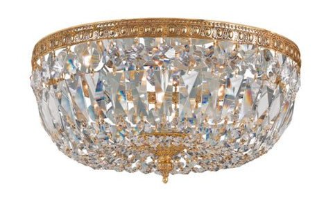 Crystorama 712-OB-CL-MWP Crystal Three Light Crystal Basket from Richmond collection in Brassfinish