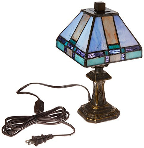 Dale Tiffany 8706 Tranquility Mission Mini Table Lamp, Antique Brass and Art Glass Shade