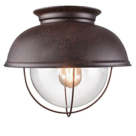 LALUZ Rustic Flush Mount Lighting Distressed Close to Ceiling Light Fixtures Bronze Finish 13 inches