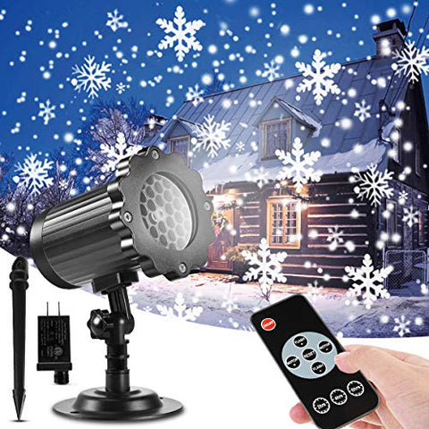 Christmas Projector Lights Outdoor, Greempire Indoor Outdoor Rotating Snowflake Lights Projector With Remote Control Upgrade Waterproof Snow Lights For Xmas Garden Holiday Wedding Landscape Decoration