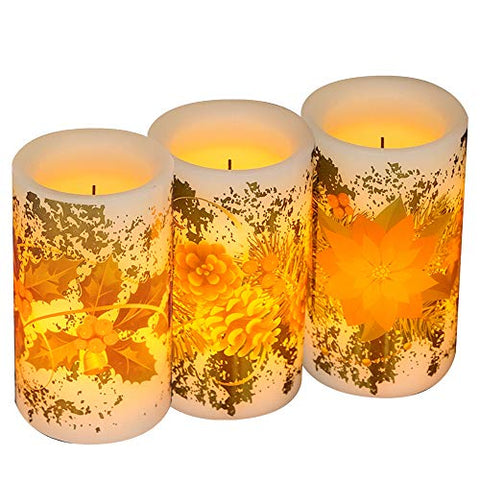 DRomance Flickering Flameless Candles Battery Operated with Timer, Set of 3 Real Wax Warm Light Faux Wick LED Flameless Pillar Candles with Berry, Flower & Pine Cones Decal Christmas Decor - llightsdaddy - DRomance - Flameless Candles