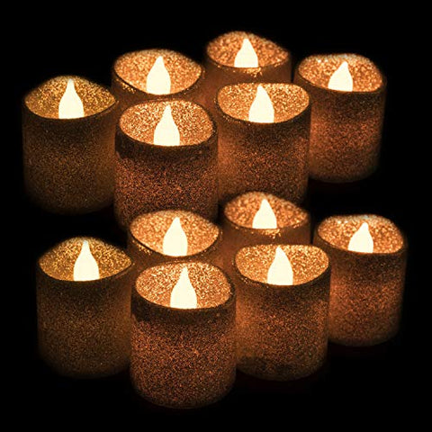 West Ivory Set of 12 - WYZworks Gold Glitter Votive Tea Light Flameless LED Faux Wax Candle - llightsdaddy - West Ivory - Flameless Candles
