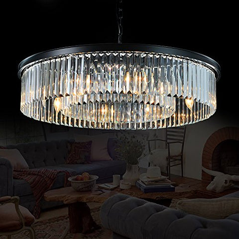 "Meelighting Crystal Chandeliers Modern Contemporary Ceiling Lights Fixtures Pendant Lighting for Dining Room Living Room Chandelier D33.5"" (8 Lights) - llightsdaddy - MEELIGHTING - Island Lights"