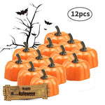 CXMYKE 12pcs LED Orange Pumpkin Lanterns - 3D Halloween Flameless Tea Lights - Battery Operated Tealight Candles with Warm Yellow Flickering Flame - D1.9xH1.7 - llightsdaddy - CXMYKE - Flameless Candles