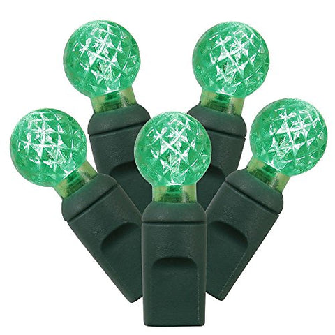 Vickerman 100 Count Single Mold G12 Berry LED Light Set with Green Wire, Green