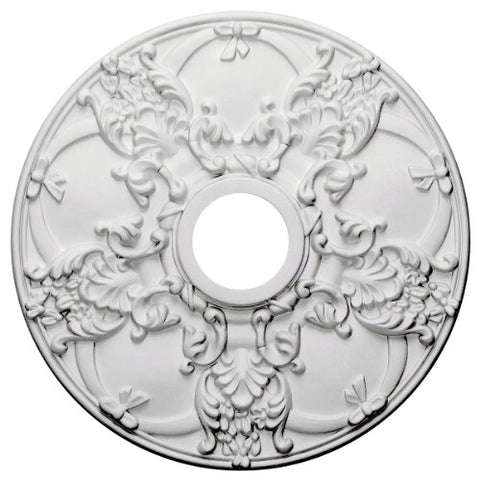 "Ekena Millwork CM18NO Norwich Ceiling Medallion, 18""OD x 3 1/2""ID x 1 3/8""P (Fits Canopies up to 4 1/2""), Factory Primed"