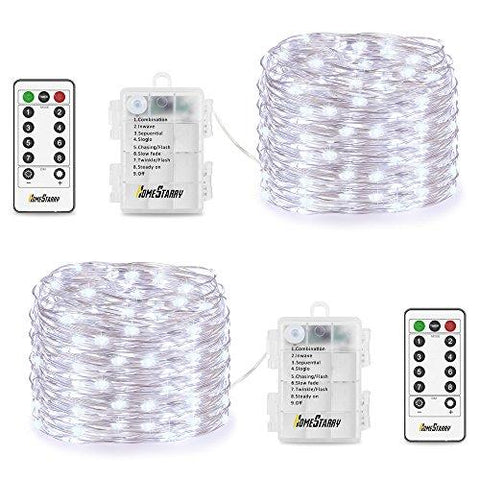 Homestarry 2 Sets Fairy String Lights Battery Operated Waterproof 8 Modes, Firefly Remote, Bedroom, Patio, Decor Christmas, 16.4 ft 66 LED's, Cool White - llightsdaddy - AudioBahn - Low Voltage Transformers