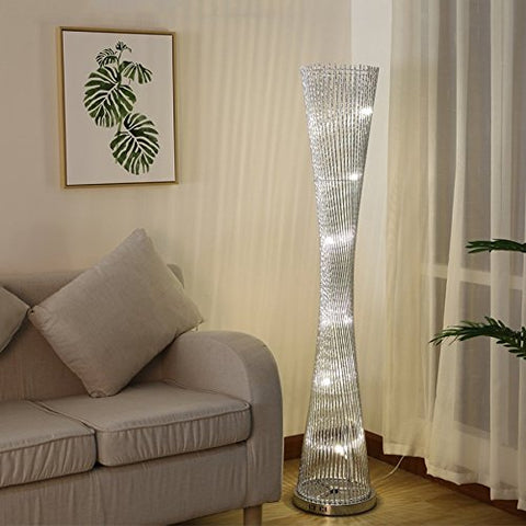 XIANGYU Creative lighthouse floor lamp silver, Led floor Lamp for living room Bedroom Study Reading Lamp ,aluminum 57in11in,Warm light and white light (Color : Warm light) - llightsdaddy - XIANGYU - Lamp Shades