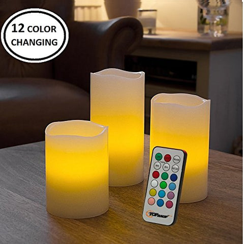 Flameless Candles Set of 3 Flickering LED Candles Real Wax Color Changing Candles Flameless Candle Lights Battery Operated with Remote & Timer - Set of 3 - llightsdaddy - Top Race - Flameless Candles