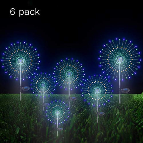 Solar Firework Light, 105 Led Multi-Color Outdoor Firework Solar Garden Decorative Lights For Walkway Pathway Backyard Decoration Parties (6 Pack)