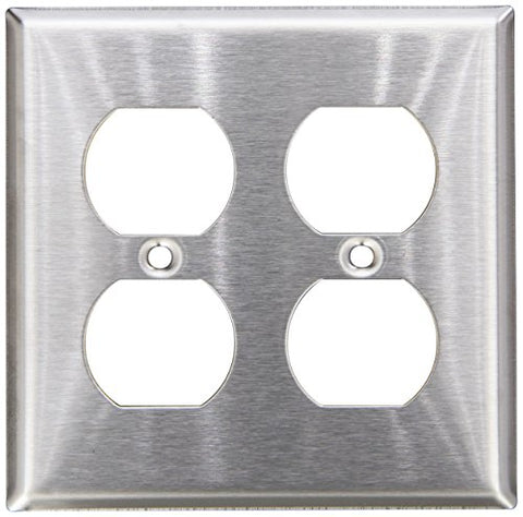 Morris 83220 430 Wall Plate, Duplex Receptacle, 2 Gang, Stainless Steel - llightsdaddy - Morris - Wall Plates