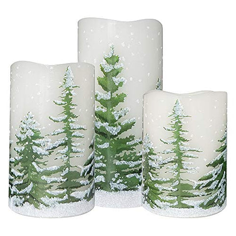 Wondise Flickering Flameless Candles with 6 Hour Timer, Battery Operated White LED Pillar Candles Real Wax Warm Light Set of 3 Christmas Tree Decal Candles Home Decoration Gifts(3 x 4-6 Inch) - llightsdaddy - Wondise - Flameless Candles