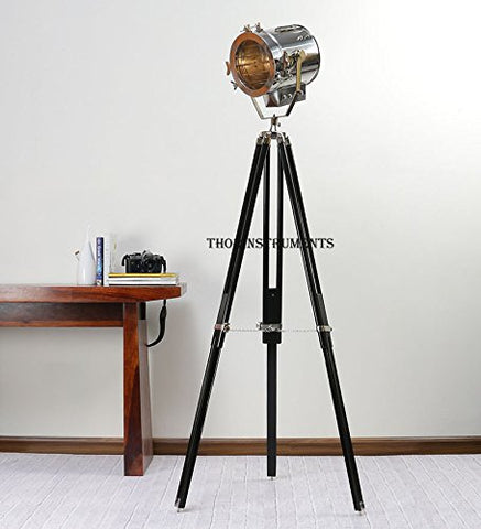 THORINSTRUMENTS (with device) ROYAL DESIGNER NAUTICAL CHROME SPOT LIGHT MODERN TRIPOD FLOOR LAMP SEARCHLIGHT - llightsdaddy - THORINSTRUMENTS (with device) - Lamp Shades