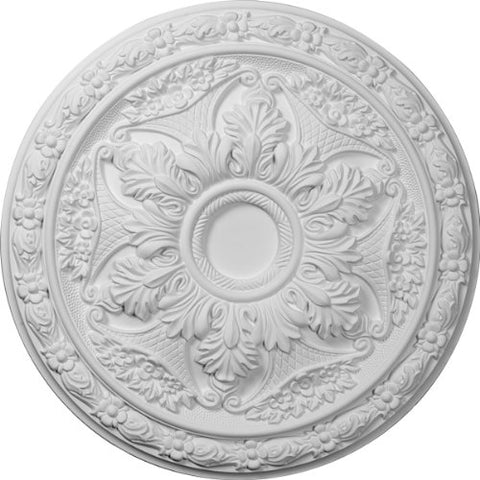 "Ekena Millwork CM20BL Baile Ceiling Medallion, 20""OD x 1 5/8""P (Fits Canopies up to 3 1/4""), Factory Primed"
